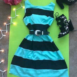 Mint & black striped spring cocktail dress